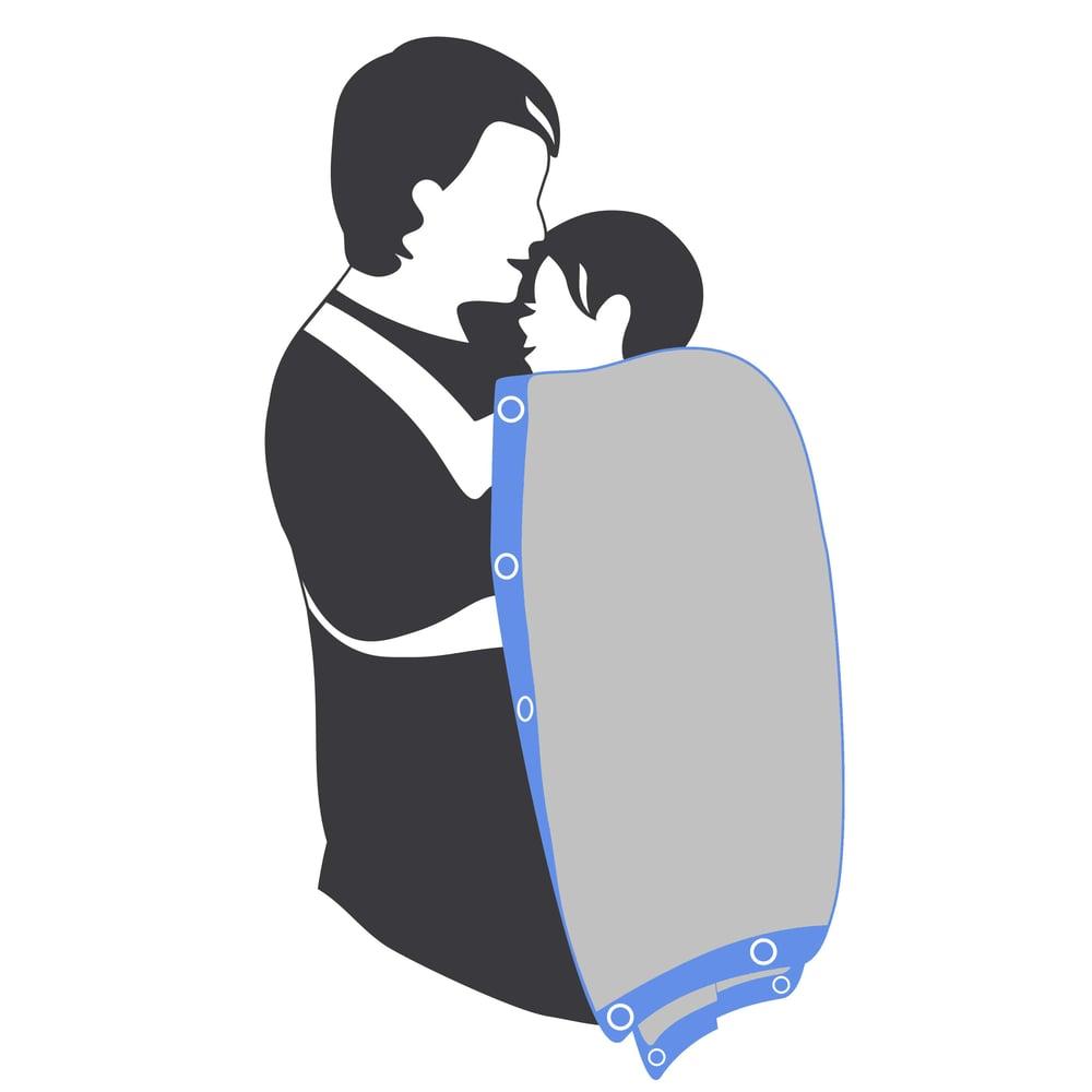 "Image of Sunsnapz Baby Blanket ""GREY/ROYAL"