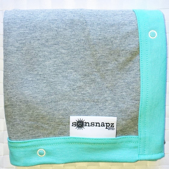 "Image of Sunsnapz Baby Blanket ""GREY/AQUA"""