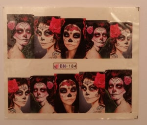 Image of Gorgeous Lady Sugar Skull Water Decals (4 designs available)