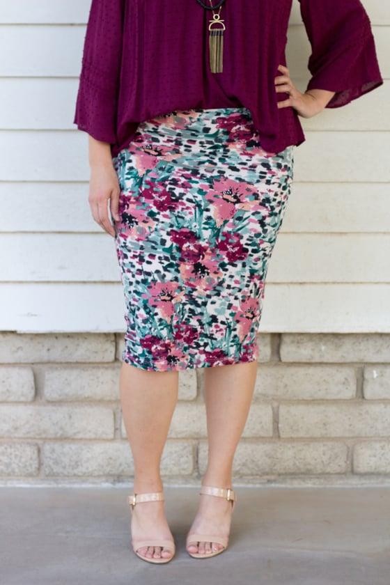 Image of Mauve/Burgandy Floral Skirt