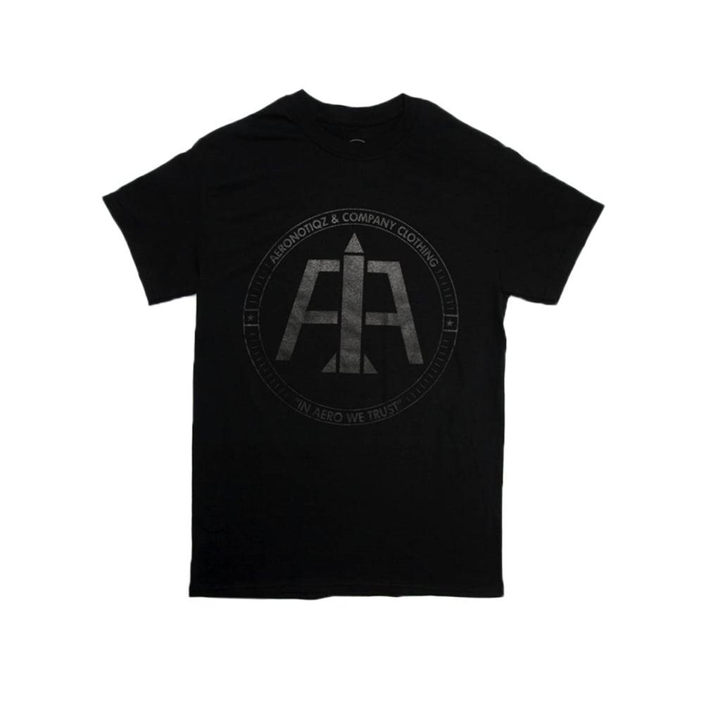 Image of Black On Black Logo Tee