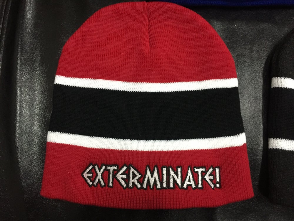 Image of Exterminate! striped knit beanie