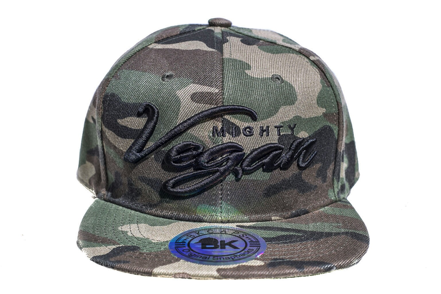 Image of MVA BLACK CURSIVE 3D EMBROIDERY on CAMO SNAPBACK HAT