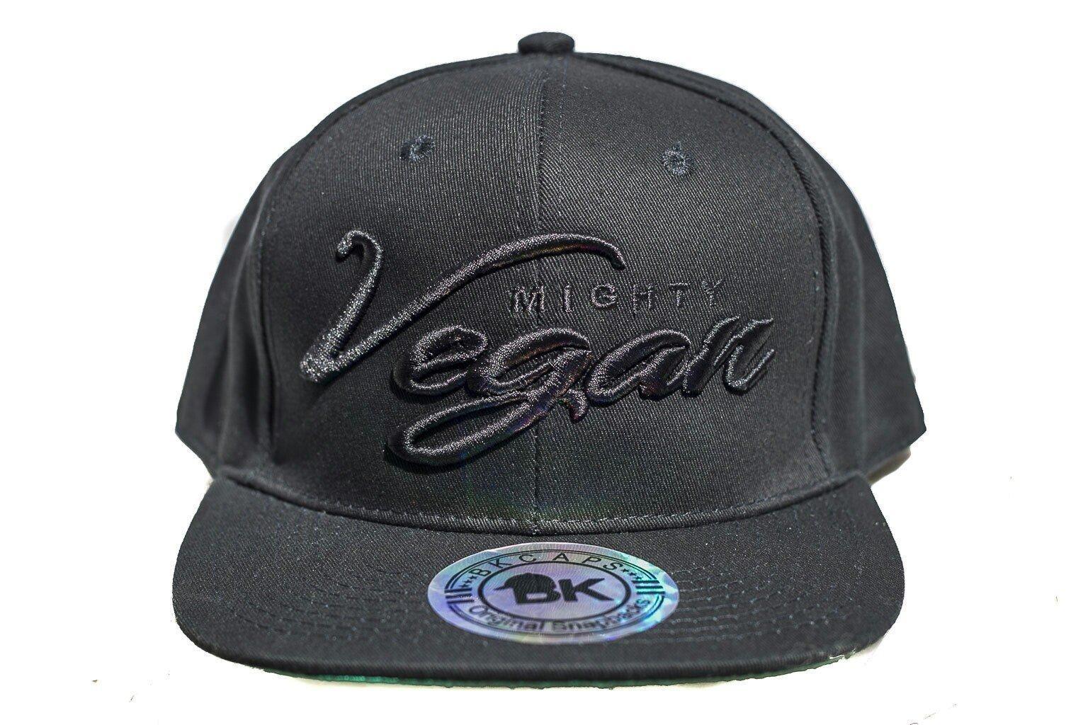 d2c2902cd11 Mighty Vegan Apparel — MVA BLACK CURSIVE 3D EMBROIDERY on BLACK SNAPBACK HAT