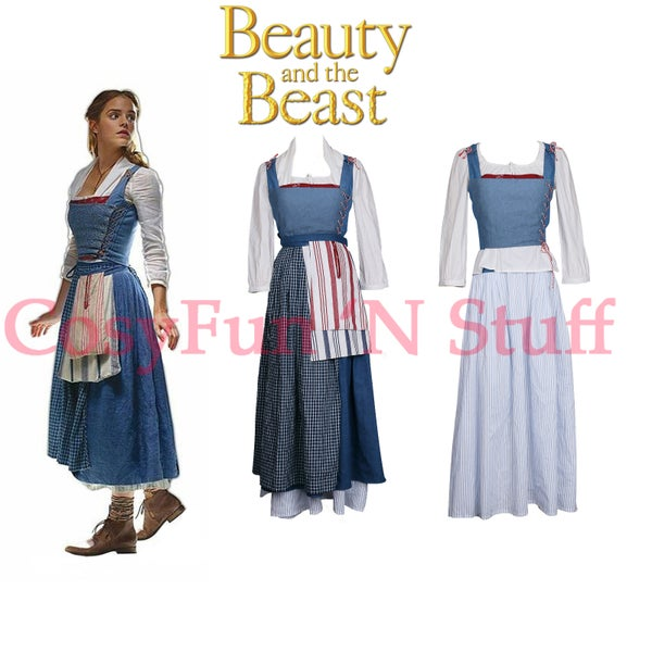 Image of Beauty and the Beast Movie Belle Cosplay Emma Watson Costume Peasant Maid Dress
