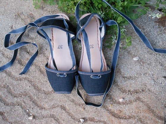 Image of Flat Albarca Espadrilles - A1L - Denim & Leather - 36 to 41 EU sizes