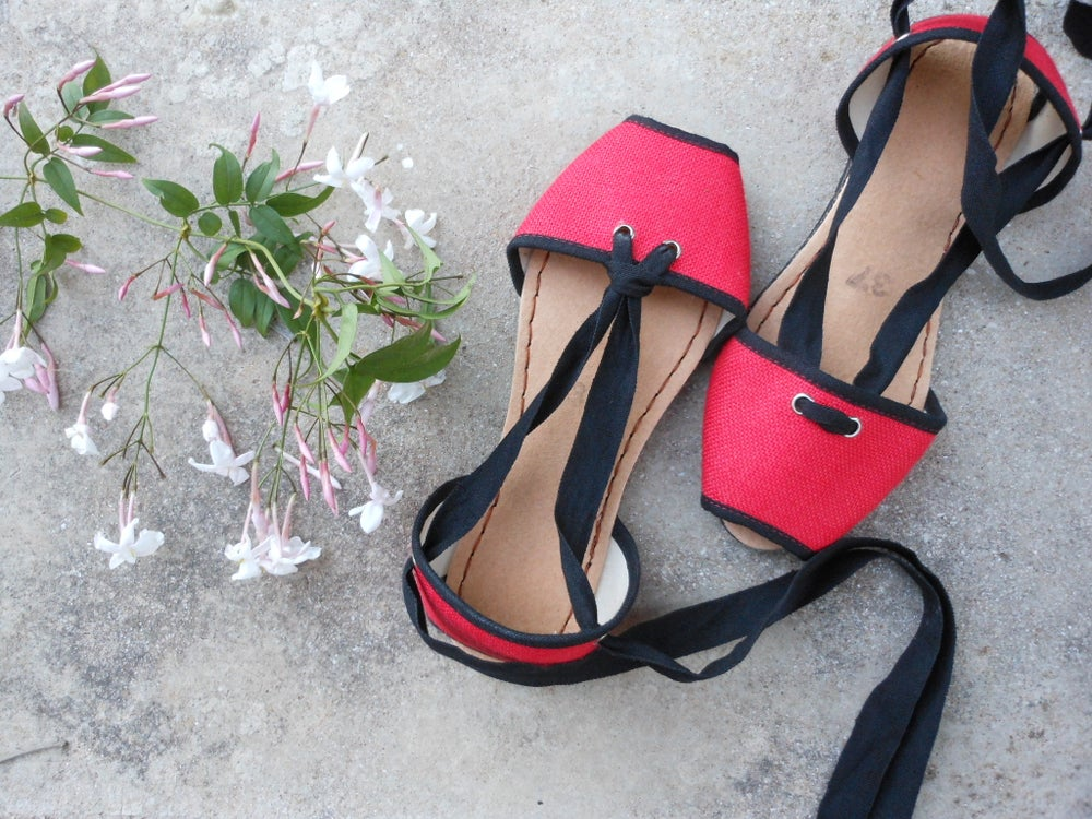 Image of Flat Albarca Espadrilles - A2V - Red & Vegan - 36 to 42 EU sizes