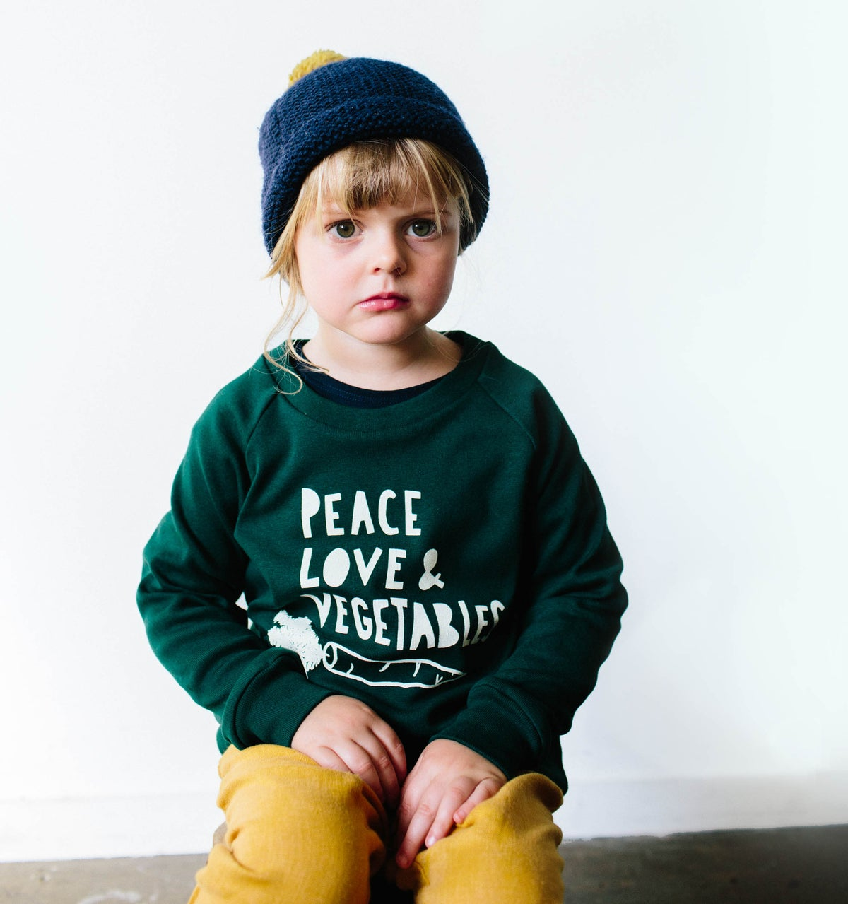 Image of Peace Love and Vegetables sweater charcoal
