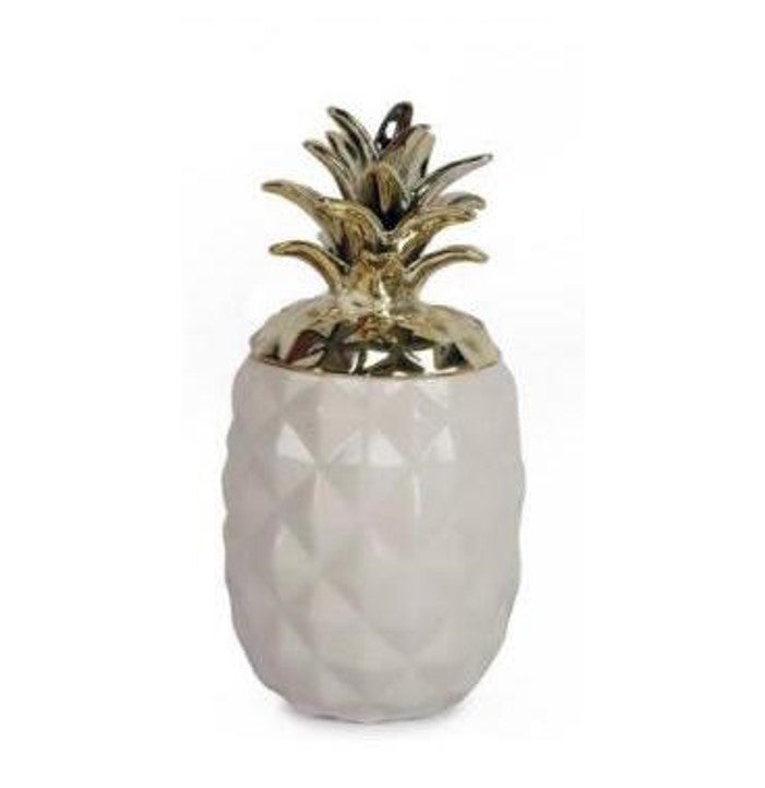 Image of Ceramic White and Gold Pineapple Storage Pot