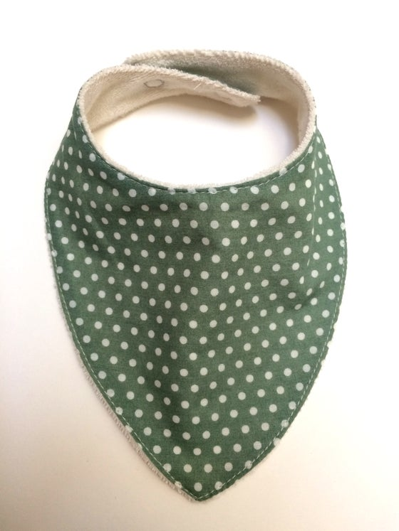 Image of Bavoir bandana | Vert & pois blanc