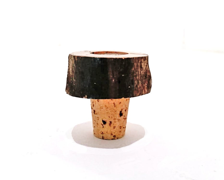 Image of Natural Organic Live-Edge Wine Cork with Antique Indian Head Coin