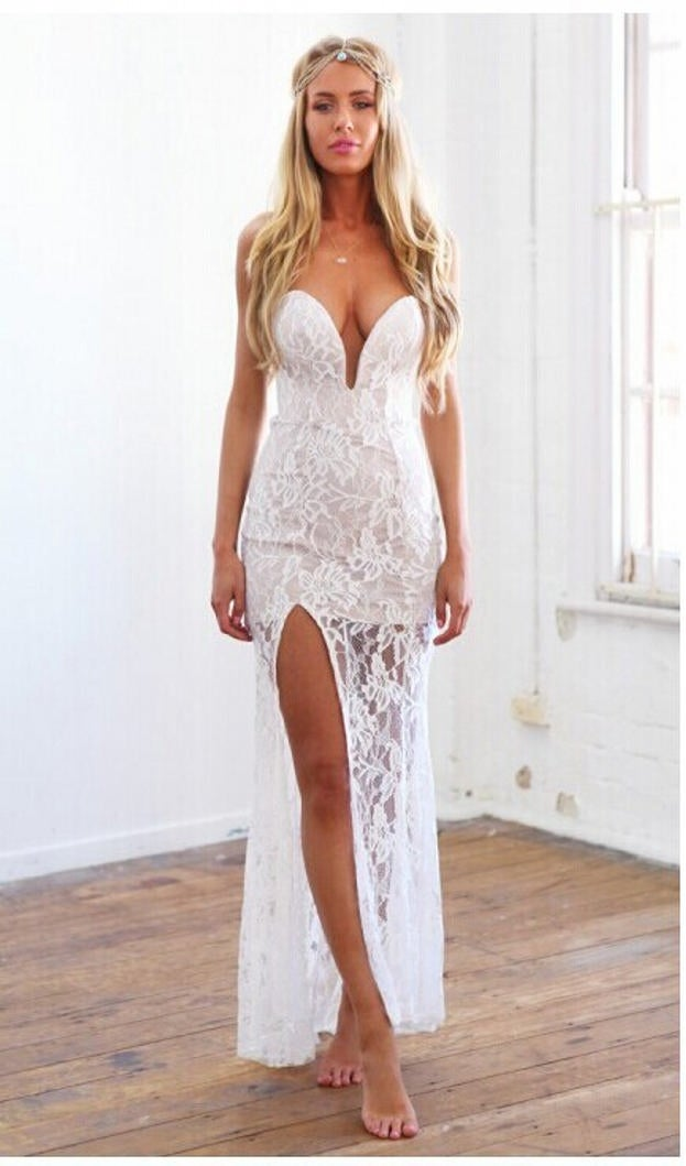 Image of Pauline Lace Dress White