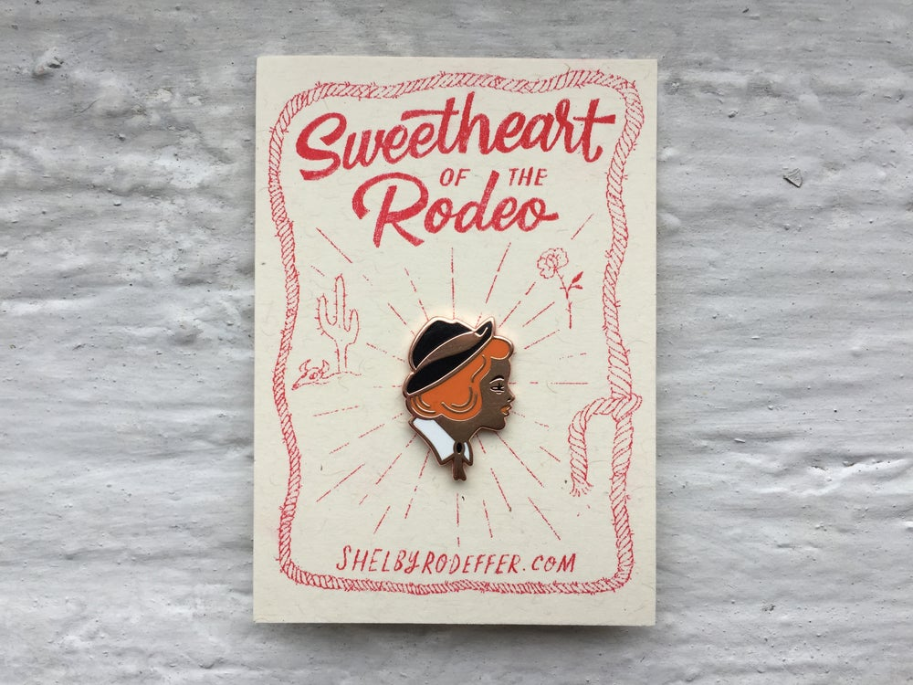 Image of Sweetheart of the Rodeo - copper cloisonné pin