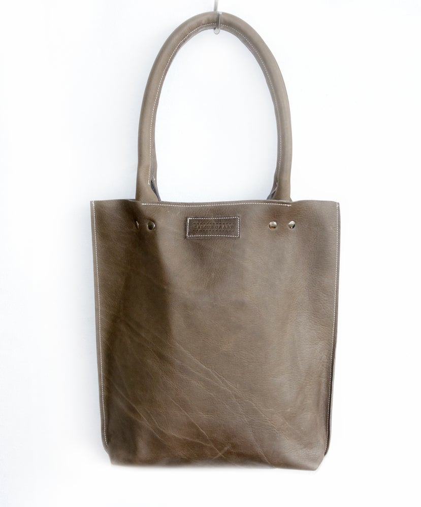 Image of Gray Leather Shopper
