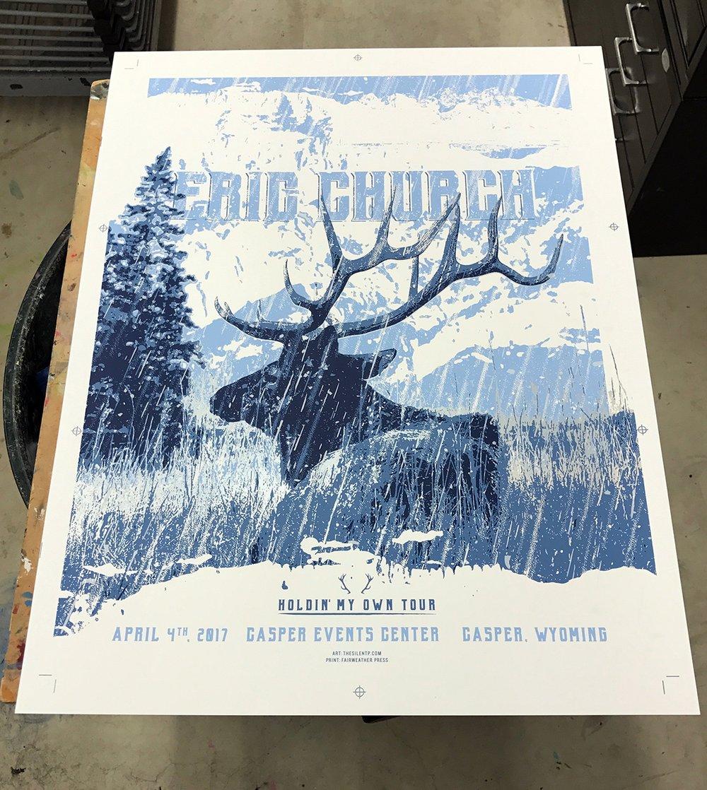 "Eric Church ""Elk in Snow"" Poster"