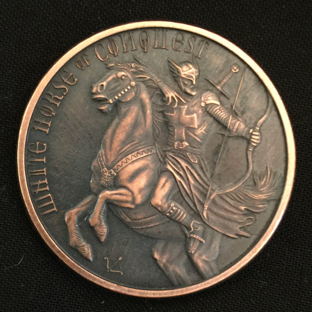 Image of White Horse of Conquest 1oz Copper Challenge Coin