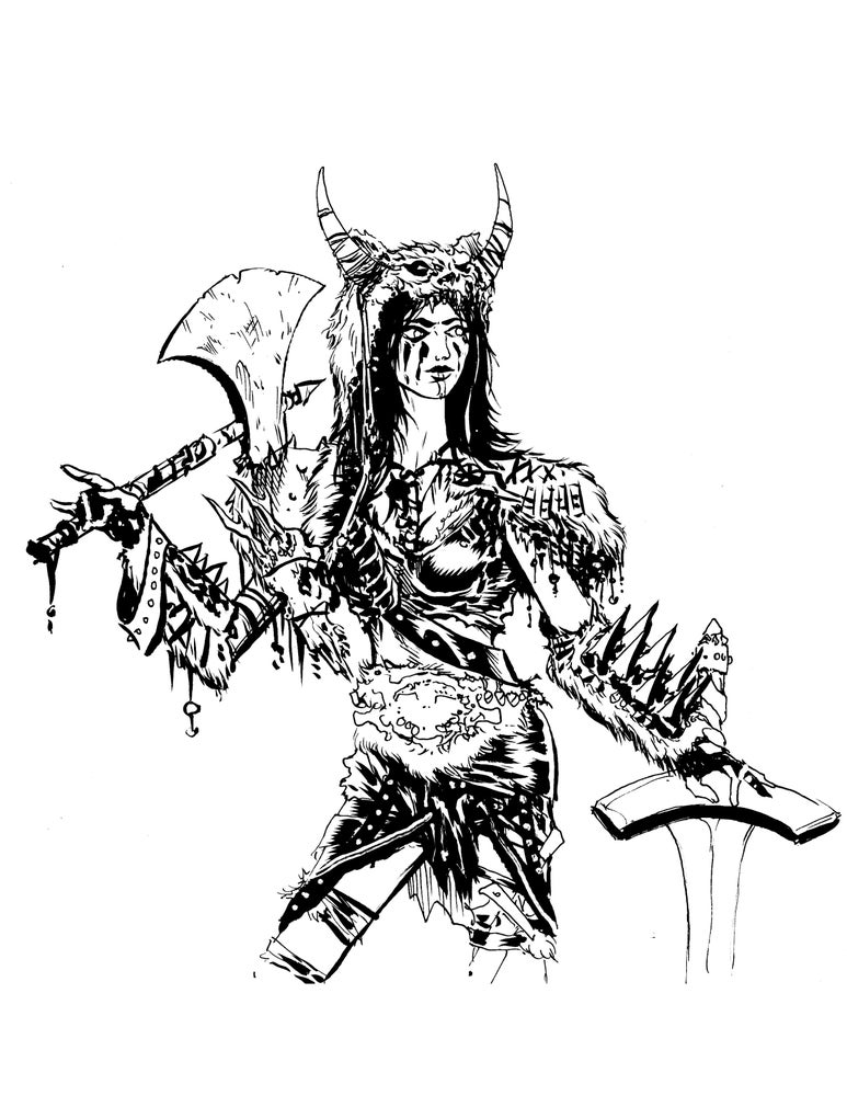 Image of Barbariana original inked piece