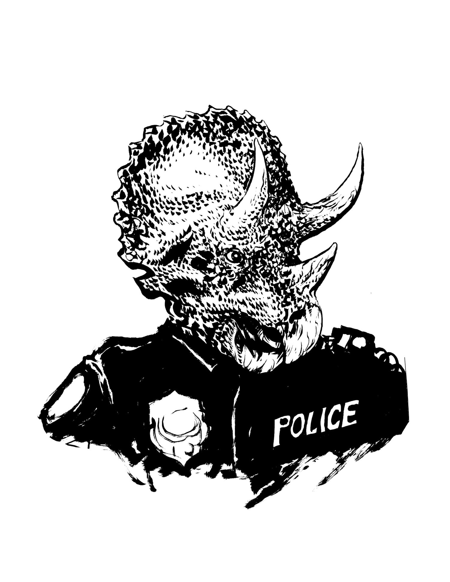 Image of triceracop inked original piece