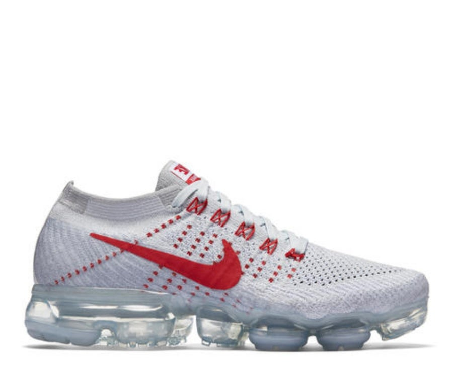 Image of NIKE AIR VAPORMAX FLYKNIT WOLF GREY/RED  849557-060
