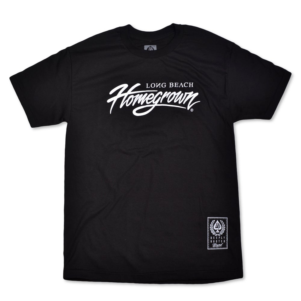 Image of HOMEGROWN SCRIPT BLACK MENS TEE
