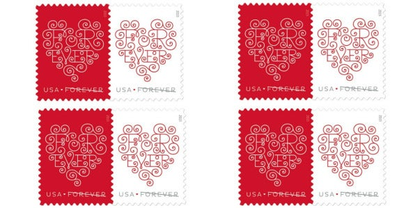 USPS SHEET of 20 Forever Heart First Class Postage stamps for Wedding  Invitations