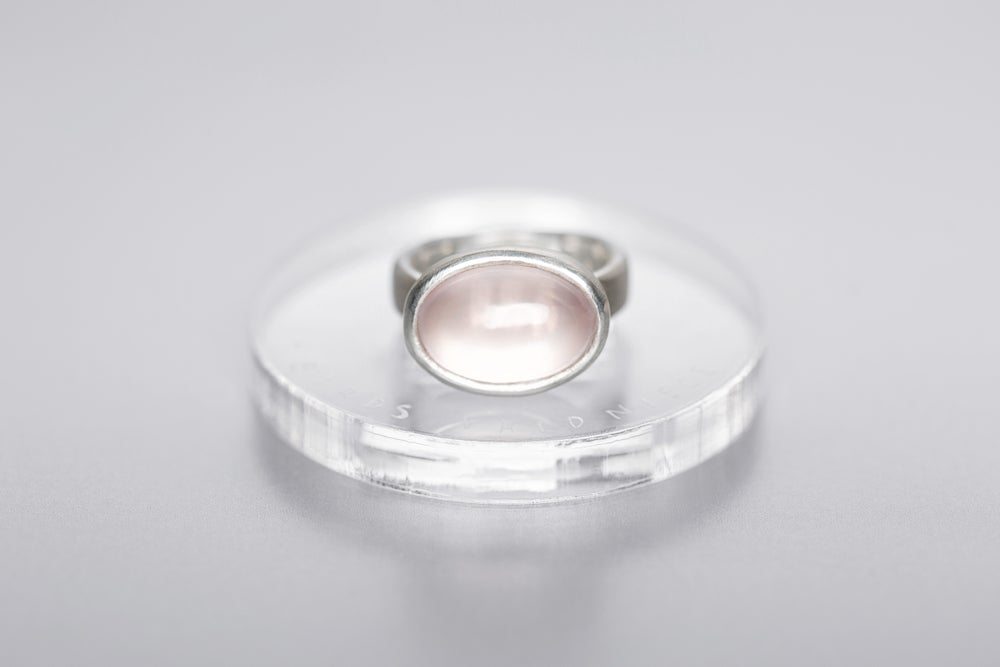 Image of silver ring with rose quartz ERA