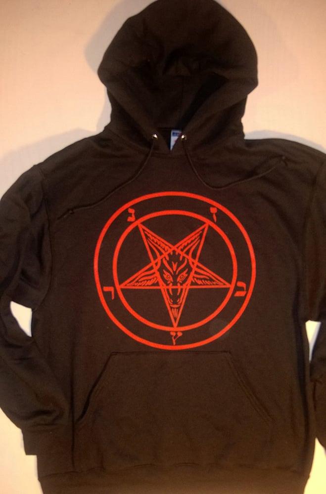 Image of Pentagram - Hooded Sweatshirt with Red Print