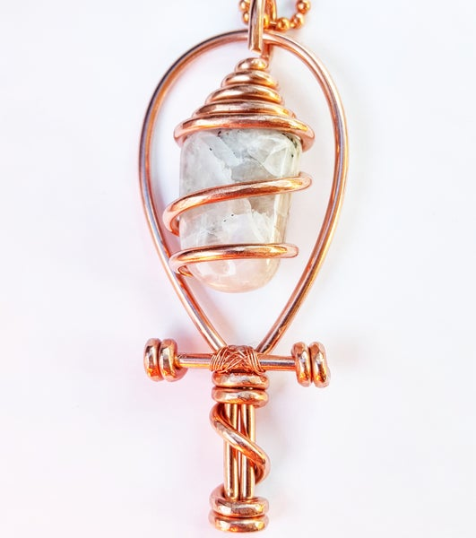 Image of Serpentine Wrapped Moonstone Ankh