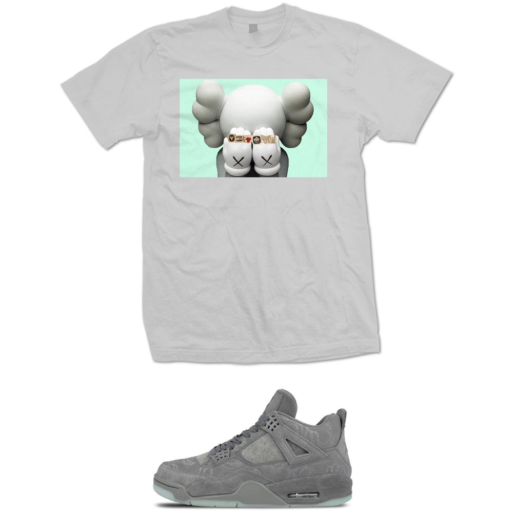 Image of 6 RINGS RETRO 4 KAWS T SHIRT - GREY