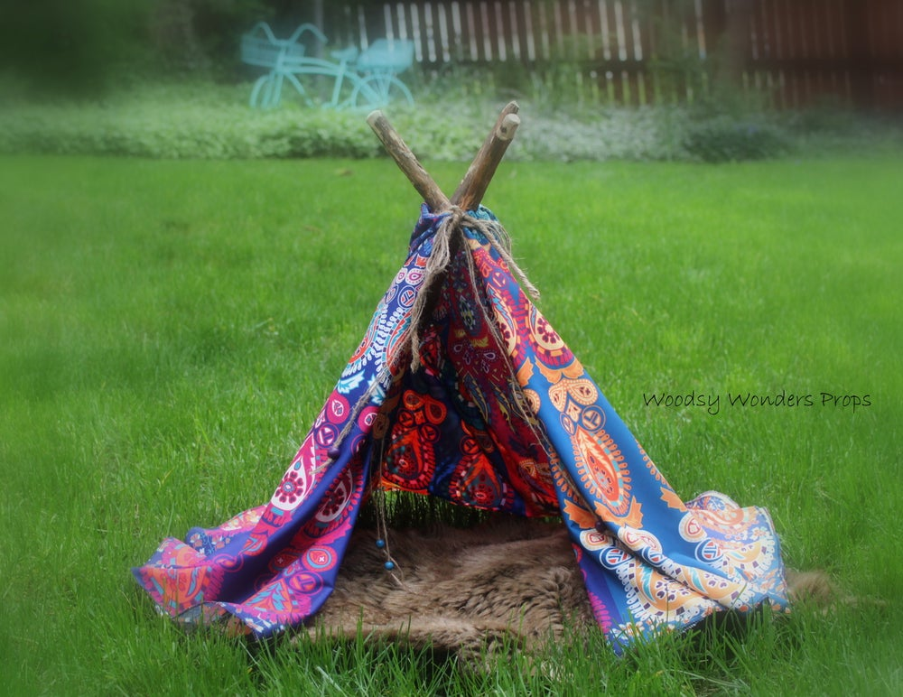 Image of Patchwork, Bohemian Style, Colorful, Wonderlust Newborn Tee-Pee Photo Prop