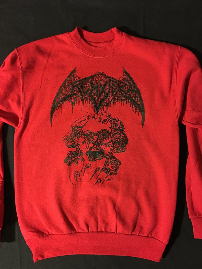 "Image of Crematory "" Three Faces "" Crew Neck Fleece Red Sweatshirt"
