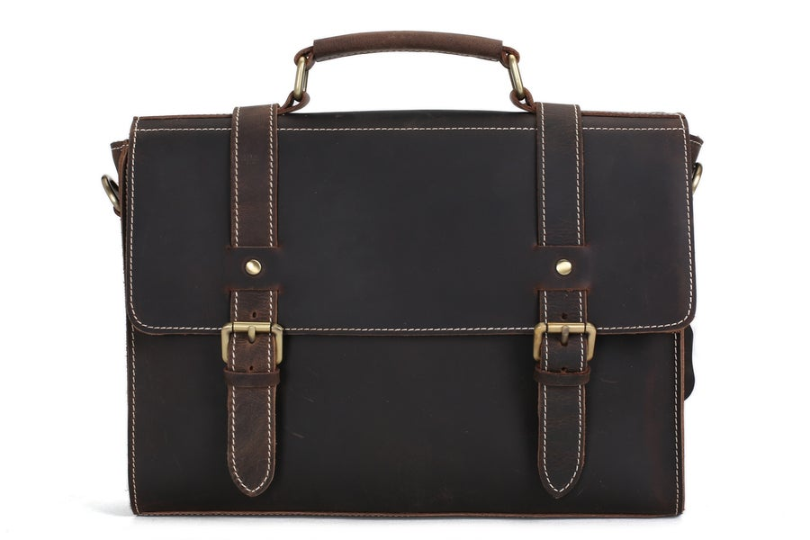 Image of Handmade Vintage Style Leather Briefcase Messenger Bag Satchel Bag Crossbody Shoulder Bag 12007