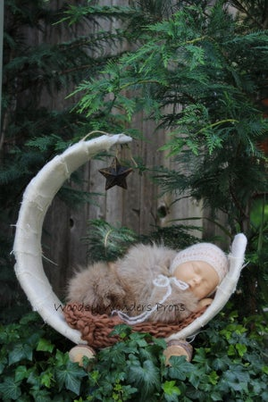 "Image of Natural White, Over the Moon! Rustic, Half Moon, Newborn Baby ""Poser"" Photo Prop"