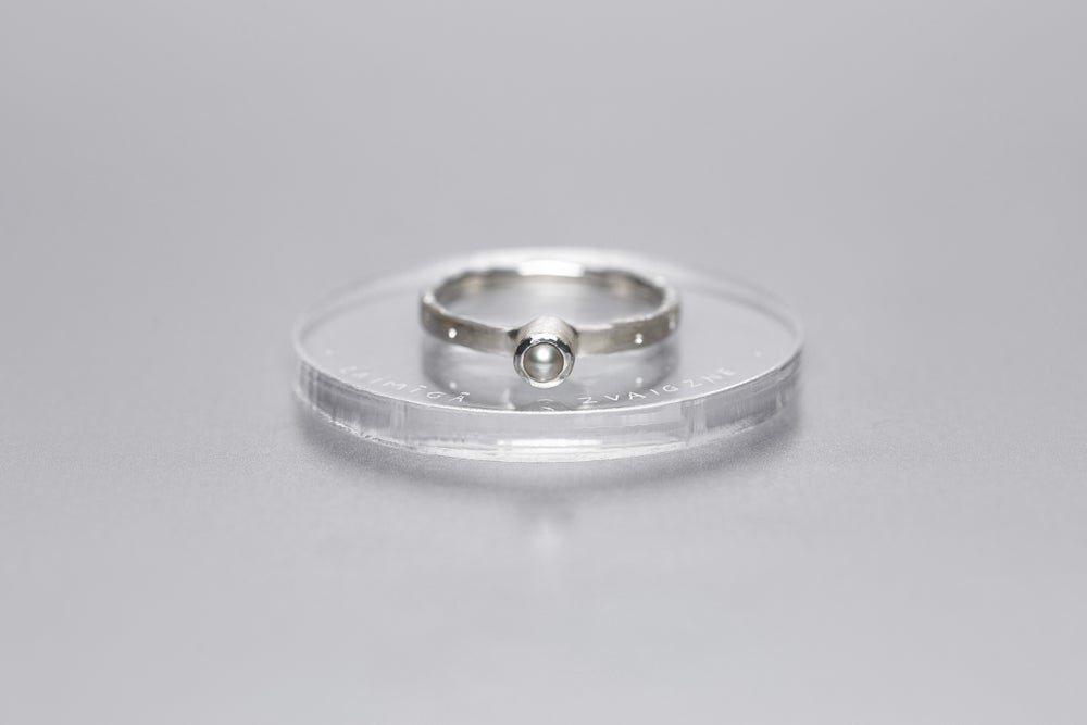 Image of silver ring with pearl STELLA ALBA