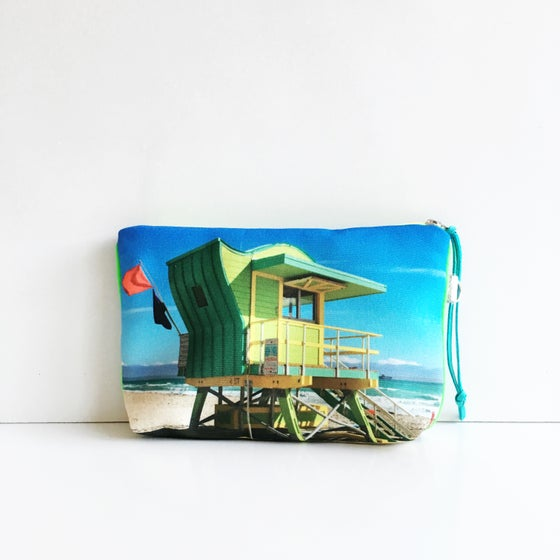 Image of Green Lifeguard Tower Miami Beach Pouch M