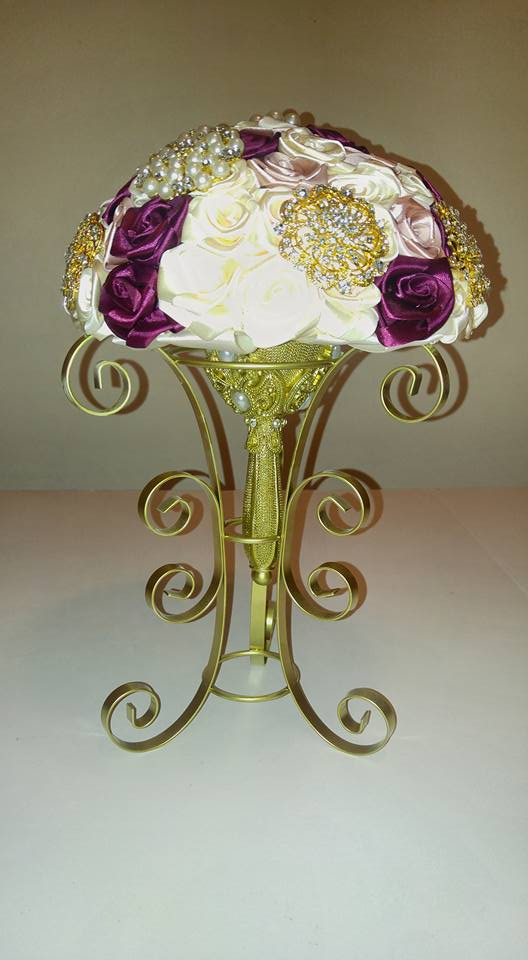 Image of CREAM, BLUSH, AND BURGUNDY SATIN ROYAL BROOCH BOUQUET
