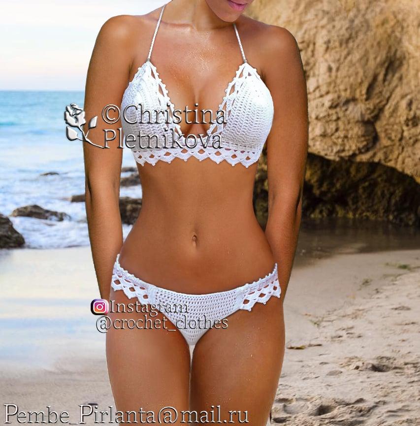 c7a278584130f Crochet clothes — Crochet bikini honeymoon swimsuit white bathing suit