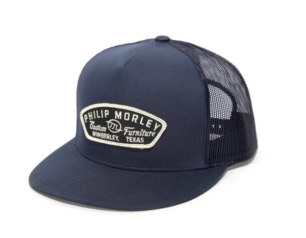 Image of Navy Cap with Black Patch - Classic Yupoong 5 Panel