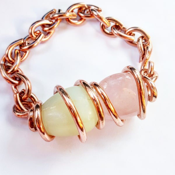 Image of Tumbled Jade/Rose Quartz Set Crystal Bracelet