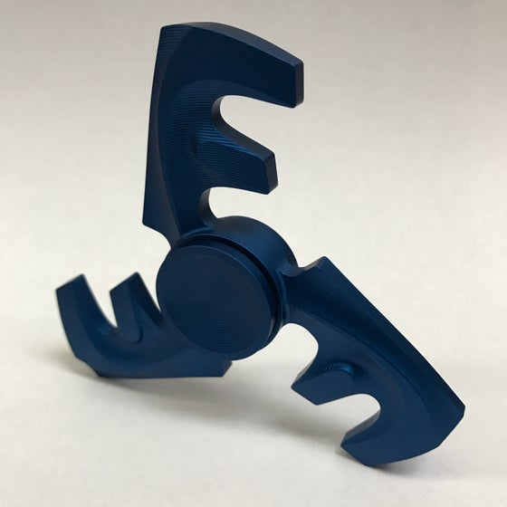 "Image of Aluminum ""Satin Blue"" Triple ""F"" Fidget Toy Spinner w/ Full Ceramic Bearing"