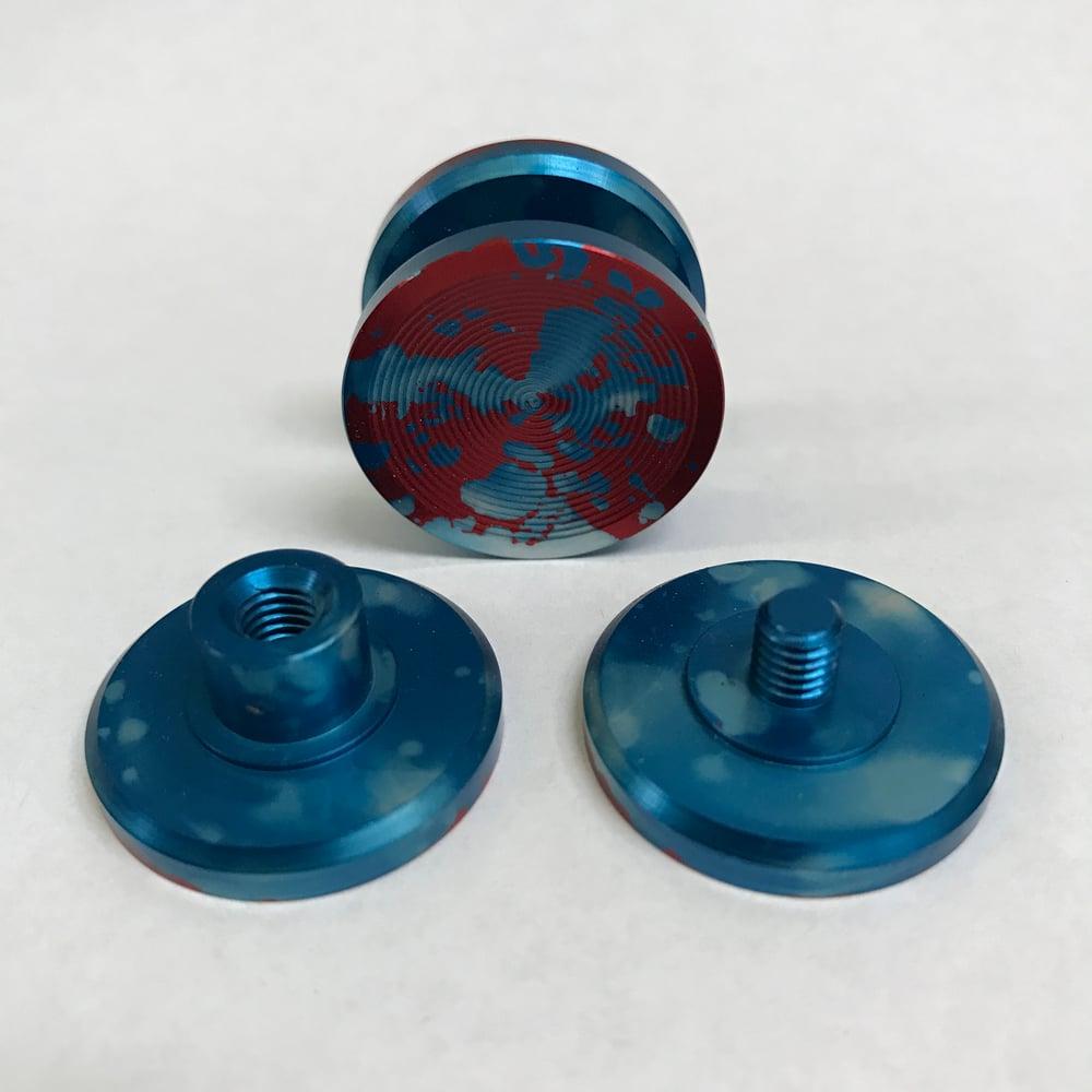 """Image of Aluminum """"Red w/ Baby Blue Splatter"""" Double """"F"""" Fidget Toy Spinner w/ Full Ceramic Bearing"""