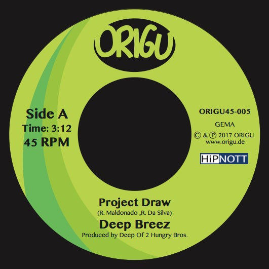 "Image of 7"" Deep Breez: Project Draw b/w Hammer feat. P.so, Jise One & DJ Static (ORIGU45-005)"