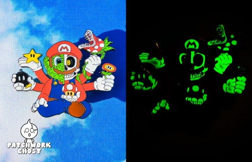 "Image of 1-UP V2 Glow Hard Enamel 3"" Pin"