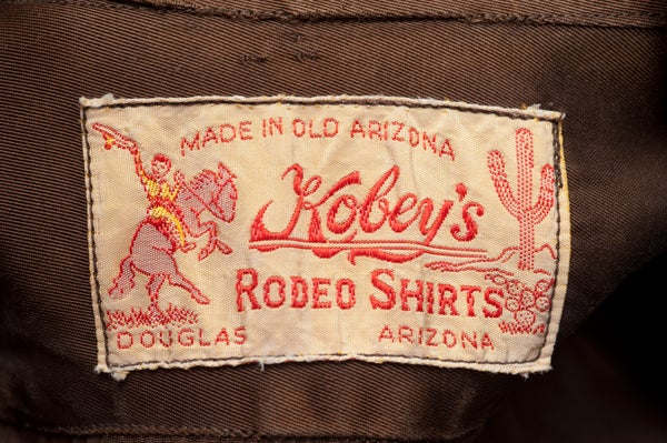 Image of 1940s Western Shirt Cowboy Kobey's Rodeo Wear Brown Douglas Arizona Satin