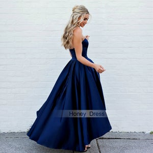 Image of Navy Blue Satin High Low Sweetheart Prom Dress With Back Zipper