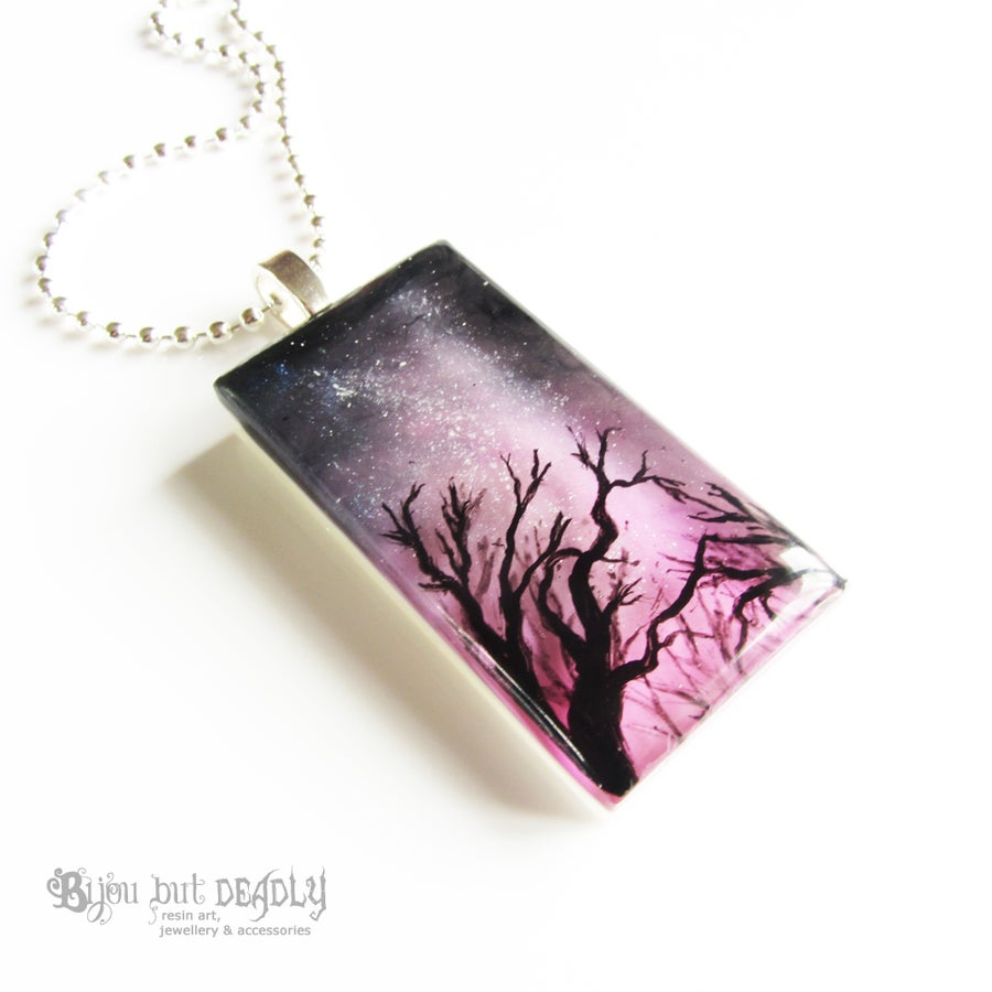 Image of Milky Way Resin Art Pink Pendant