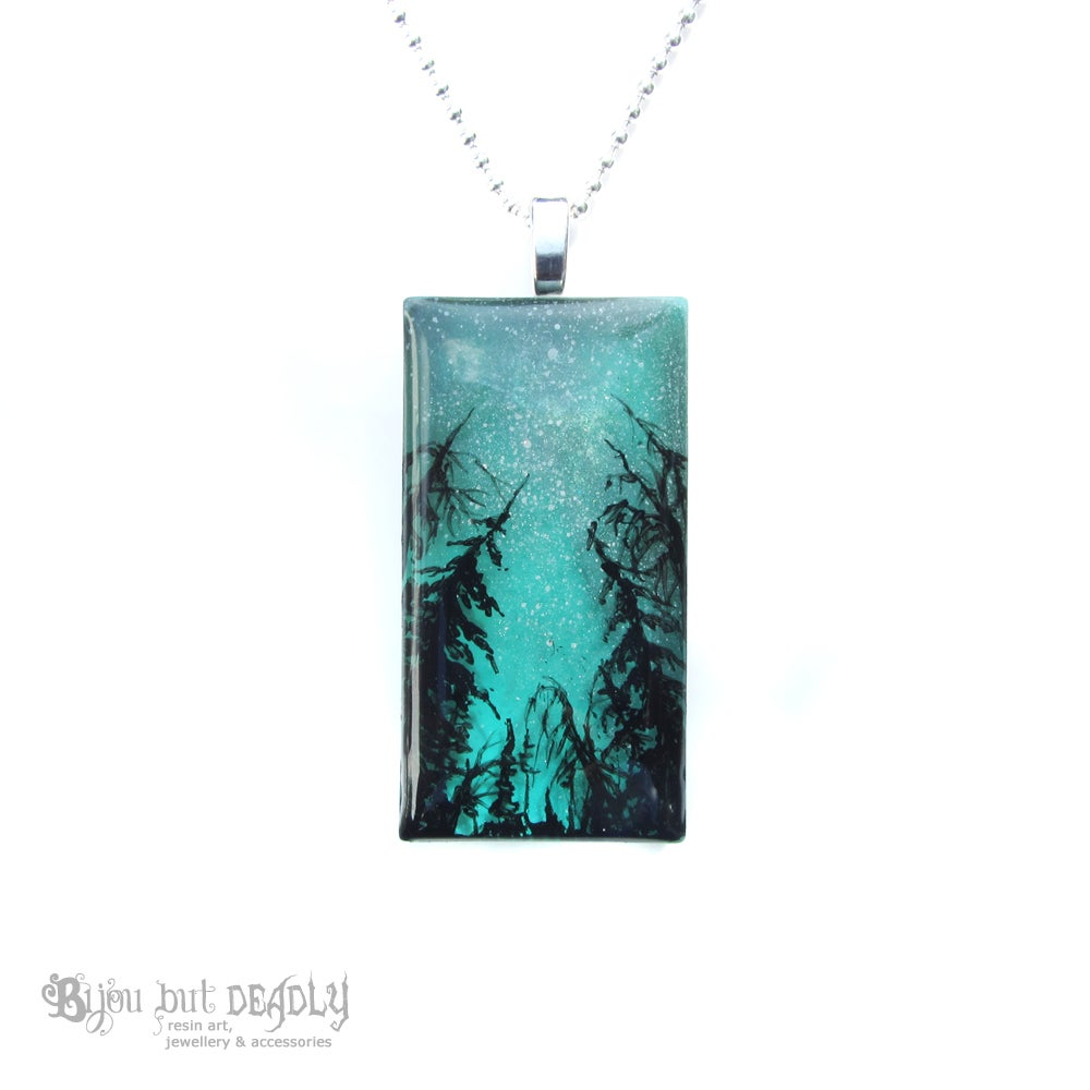 Milky Way Resin Art Green Pendant