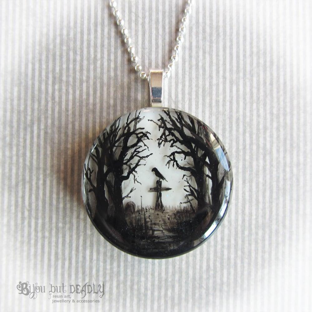 Image of Gloomy Wood Graveyard Round Pendant