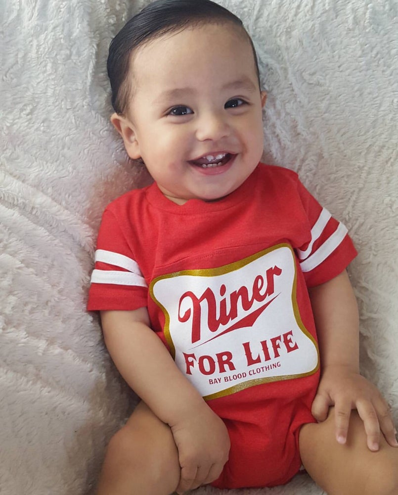 Image of Niner For Life Jersey Onesie