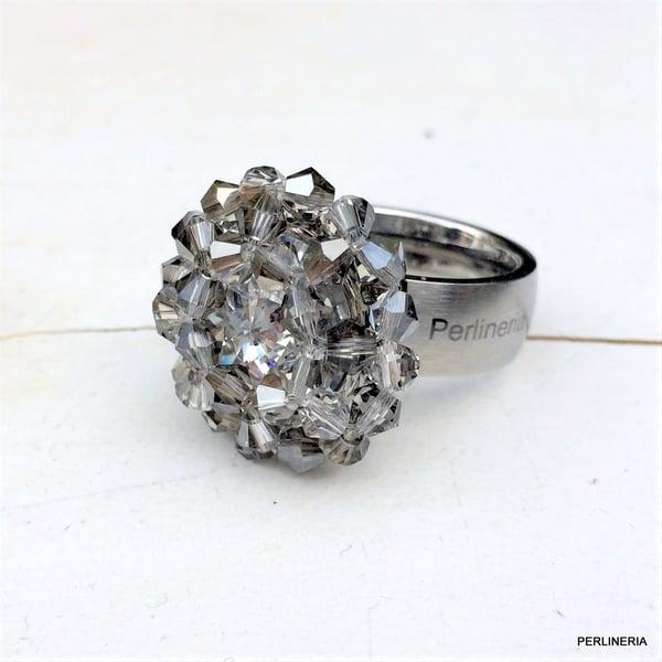 Image of Aufsatz Wechselring Crystal Silver